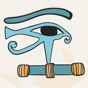Auge des Horus in blau gehalten