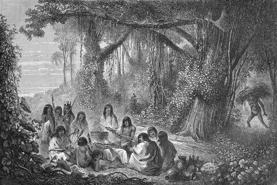 Eine Gruppe Indianer im Wald - ein Holzstich